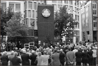 Image of the Newgate Street clock unveiling ceremony. The clock was built to commemorate the 375th anniversary of the Worshipful Company of Clockmakers of London